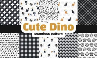 Collection of dinosaur seamless pattern. Premium vector