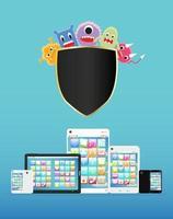teléfono inteligente y tableta protegidos contra virus vector