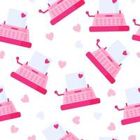 Seamless pattern of pink vintage typewriter with love message for the wedding or Valentine's Day. vector