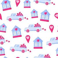 Patrón sin fisuras de camión con corazón, geoetiqueta y casa para la boda o el día de San Valentín. vector