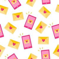 Seamless pattern of love message in envelope and phone for the wedding or Valentine's Day. vector