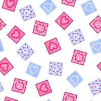 Seamless pattern of different colors of condoms for the wedding or Valentine's Day. vector