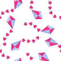 patrón sin fisuras de cometa con corazones para la boda o el día de san valentín. vector