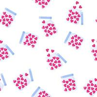 Seamless pattern of jar of sweets in the shape of a heart for the wedding or Valentine's Day. vector