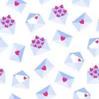Seamless pattern of love letters in envelope for the wedding or Valentine's Day. vector