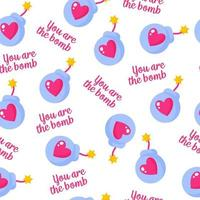 Seamless pattern of wick bomb with heart and inscription for the wedding or Valentine's Day. vector