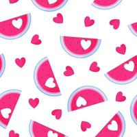 Seamless pattern of watermelon with heart for the wedding or Valentine's Day. vector