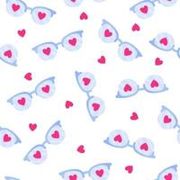 Seamless pattern of glasses with heart for the wedding or Valentine's Day. vector