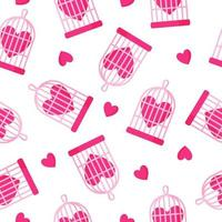 Seamless pattern of birdcage and heart for the wedding or Valentine's Day. vector