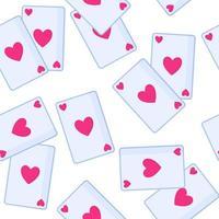 Patrón sin fisuras de naipes con corazón para la boda o el día de San Valentín. vector