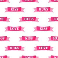 Seamless pattern of pink ribbons with the inscription for the wedding or Valentine's Day. vector