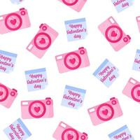 Seamless pattern of camera and sticker with inscription for the wedding or Valentine's Day. vector