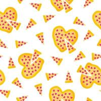 Seamless pattern of heart shaped pizza for the wedding or Valentine's Day. vector
