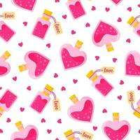 Seamless pattern of love potion in bottles of different shapes with tag and heart for the wedding or Valentine's Day. vector