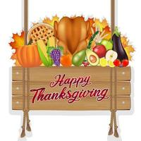 happy thanksgiving celebration poster banner with foods and fruits vector