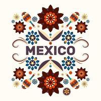 cartel de méxico con ilustración tradicional. gente. sombrero, pimienta vector