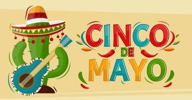 Cinco de Mayo. 5 de mayo feriado en méxico. cactus con sombrero. estilo de dibujos animados. banner de vector. vector