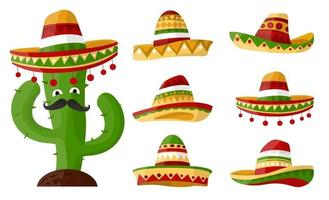 Mexican cartoon cactus with Set of sombreros with colourful ornaments art. Hat on isolated background for your design .Vector vector