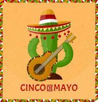 Cinco de Mayo. 5 de mayo feriado en méxico. cactus con sombrero. estilo de dibujos animados. vector