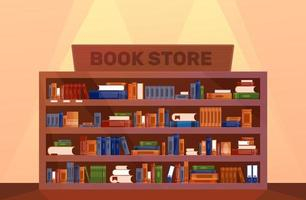 Book store Large Bookcase with books. Library book shelf interior. Knowledge. Vector illustration pattern