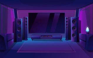 Home theater with big music speakers. Game room interior. Night apartment. Big TV screen. Vector illustration.
