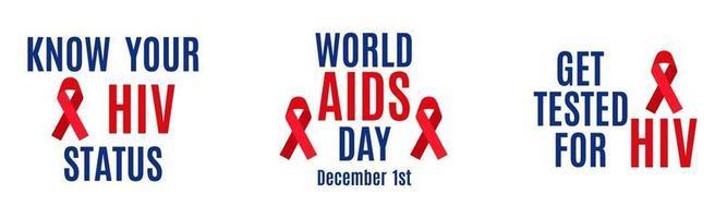 conjunto de letras vectoriales aislado sobre fondo blanco. conocer su estado de vih. 1 de diciembre: día mundial del sida. hacerse la prueba del vih vector