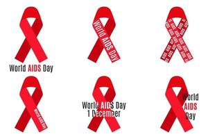 Vector set of red ribbons with inscriptions isolated on white background. AIDS and HIV medical symbol.