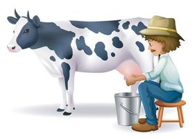 Black and white cow with farmer on isolated background. Vector EPS 10