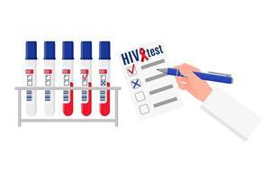 Ilustración de dibujos animados de vector con soporte y tubos de ensayo con análisis de sangre para el vih y en blanco con resultados. Día mundial del SIDA.