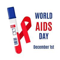 banner de vector con una cinta roja, un tubo de ensayo con un análisis de sangre para el vih y una inscripción. 1 de diciembre: día mundial del sida.