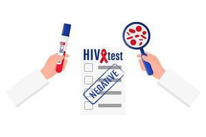 Ilustración vectorial de un médico que sostiene un tubo de ensayo con una prueba de VIH negativa en sangre, una lupa, un resultado en blanco vector