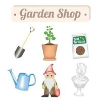 Objetos de tienda de jardinería con pala, árbol, fertilizante para plantas, regadera, gnomo y estatua decorativa de jardín. vector