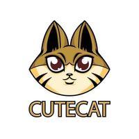 Cute Cat Mascot Logo Template vector
