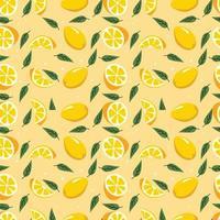 Fruit Lemon Seamless Pattern Vector Illustration