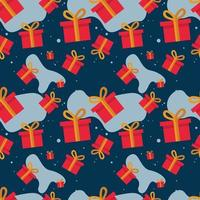 Christmas Gifts Seamless Pattern Vector Illustration