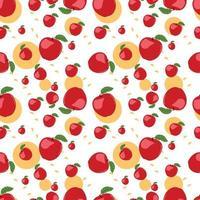 Red Apple Fruit Seamless Pattern Vector Illustration