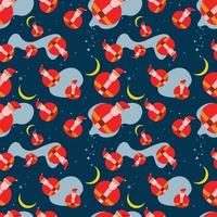 Santa Christmas Seamless Pattern Vector Illustration