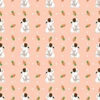 Ilustración de vector de lindo conejo triste de patrones sin fisuras
