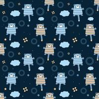 Cute Outer Space Cat Pattern Vector Illustration