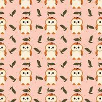 Cute Owl Animals Seamless Pattern Vector Illustration