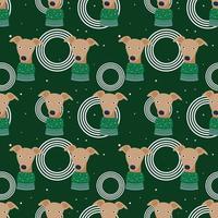 Cute Dog Christmas Pattern Vector Illustration