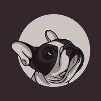 Ilustración de vector de perro pit bull triste sobre fondo aislado