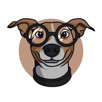 Spectacle Dog Wearing With Glasses Vector Illustration