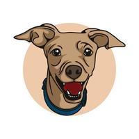 Perro divertido feliz con la ilustración de vector de vibraciones sonrientes