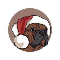 Pit bull Wear Christmas Hat  Vector Illustration