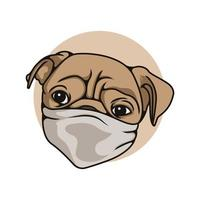 Head Pit bull Dog Wearing Mask Vector Illustration