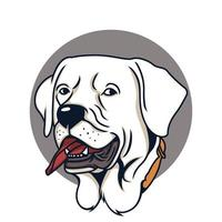 White Pit bull Vector Illustration on Isolated Background