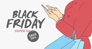 Black Friday banner concept. Online shopping with a mobile phone, spends via credit card by mobile app. Good shopping on black friday. Hand drawn thin line style, vector illustrations.