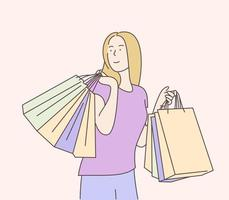 Shopping, sale, choice, store, buy concept. Cheerful young girl happy with shopping. Hand drawn in thin line style, vector illustrations.