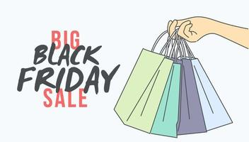 Black Friday banner concept. Hand holding shopping bags on Black Friday. vector